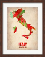 Framed Italy Watercolor Map