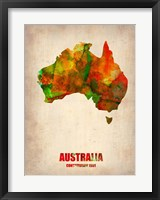Framed Australia Watercolor Map