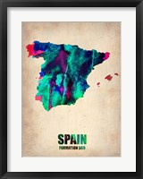 Framed Spain Watercolor Map