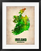 Framed Ireland Watercolor Map
