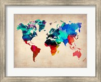 Framed World Watercolor Map 1