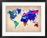 Framed World Watercolor Map 2
