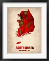 Framed South Korea Watercolor Map