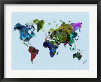 Framed World Watercolor Map 3