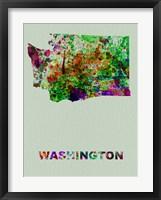 Framed Washington Color Splatter Map