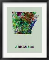 Framed Arkansas Color Splatter Map