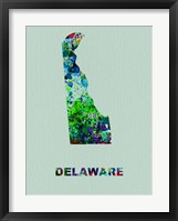 Framed Delaware Color Splatter Map