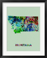 Framed Montana Color Splatter Map