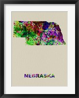 Framed Nebraska Color Splatter Map