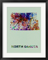 Framed North Dakota Color Splatter Map