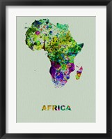 Framed Africa Color Splatter Map