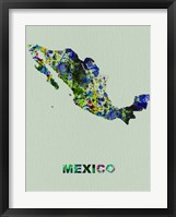 Framed Mexico Color Splatter Map