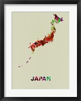 Framed Japan Color Splatter Map