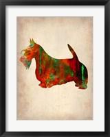 Framed Scottish Terrier Watercolor 2