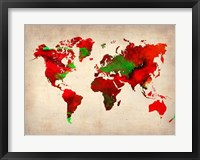 Framed World Watercolor Map 4