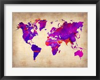Framed World Watercolor Map 5