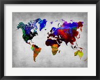 Framed World Watercolor Map 12