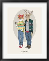 Framed Fox Girl And Deer Boy Hipsters