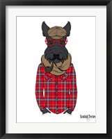 Framed Scottish Terrier In Pin Plaid Shirt