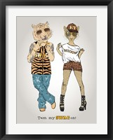 Framed Tiger And Leopard In Swag Style