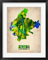 Framed Athens Watercolor