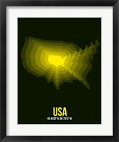 Framed USA Radiant Map 3