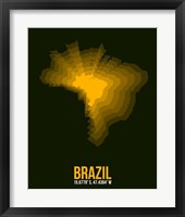 Framed Brazil Radiant Map 1