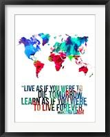 Framed World Map Quote Mahatma Gandi
