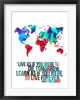 Framed World Map Quote Mahatma Gandi