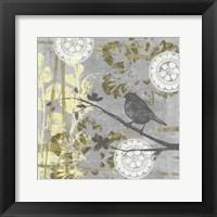 Serene Bird & Branch I Framed Print