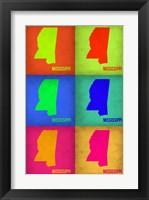 Framed Mississippi Pop Art Map 1