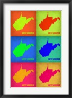 Framed West Virginia Pop Art Map 1