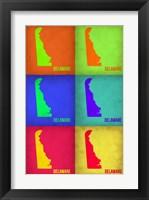 Framed Delaware Pop Art Map 1