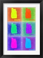 Framed Minneapolis Pop Art Map 3