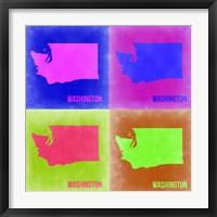 Framed Washington Pop Art Map 2