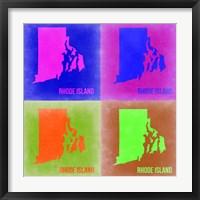 Framed Rhode Island Pop Art Map 2