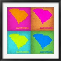 Framed South Carolina Pop Art Map 1
