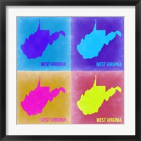 Framed West Virginia Pop Art Map 2