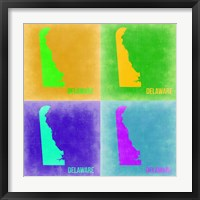 Framed Delaware Pop Art Map 2