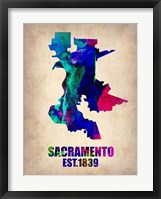 Framed Sacramento Watercolor Map