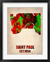 Framed Saint Paul Watercolor Map