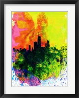 Framed Chicago Watercolor Skyline