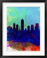 Framed Indianapolis Watercolor Skyline