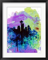 Framed Seattle Watercolor Skyline 1