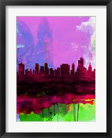 Framed Tulsa Watercolor Skyline 2