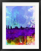Framed Madrid Watercolor Skyline