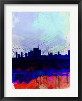 Framed Milan Watercolor Skyline