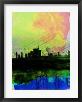 Framed Milan Watercolor Skyline 2