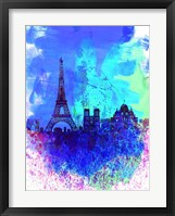 Framed Paris Watercolor Skyline