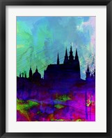 Framed Prague Watercolor Skyline